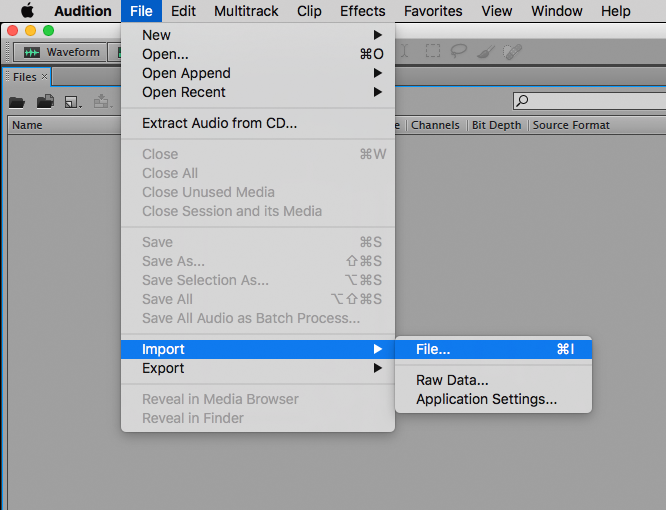 """Open Adobe Audition and then go to the """"File"""" menu and click """"Import…"""""""