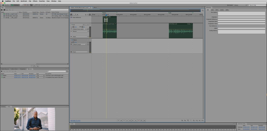 The Adobe Audition sequence will connect to the reference media file and you will see a timeline with the corresponding clips that matches what you saw (uh hem, heard!) on Simon Says