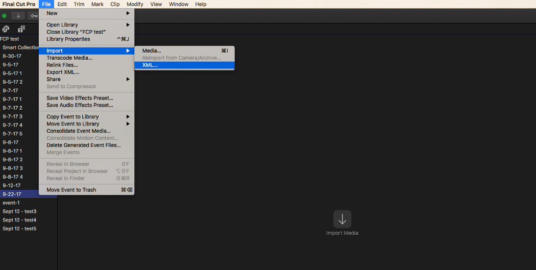 "Open Final Cut Pro X. Then go to the ""File"" menu, ""Import"" sub-menu, and click ""XML…"""