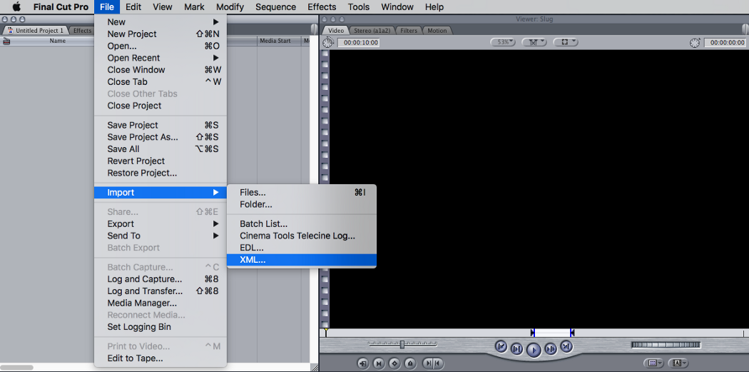 """Open Final Cut Pro and create a Project. Then go to the """"File"""" menu, """"Import"""" sub-menu, and click """"XML…"""""""