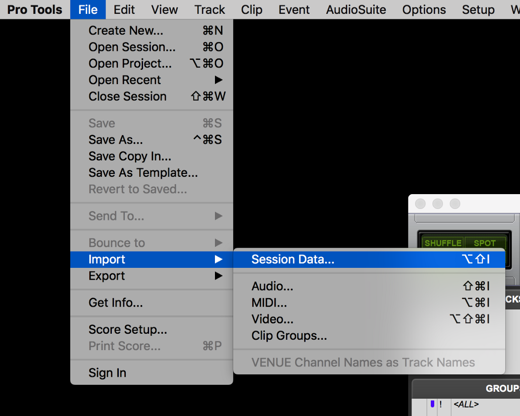 Open Avid Pro Tools and create a Project that matches your file's specs