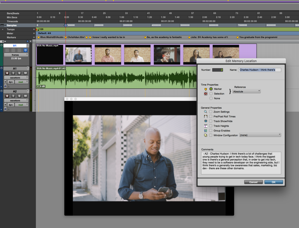 You will see a timeline with the media file and markers that correspond to the transcript